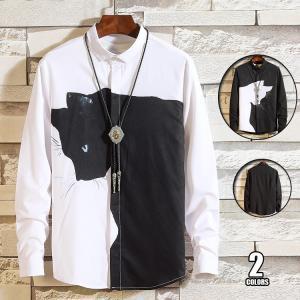 長袖シャツ メンズ カジュアル シャツ 開襟シャツ カジュアルシャツ 長袖 トップス おもしろ 猫プリント おしゃれ 通学|99mate