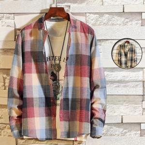 カジュアルシャツ メンズ 長袖 シャツ 開襟シャツ チェック柄 ワイシャツ 長袖シャツ トップス ストリート系 40代 50代 セール|99mate