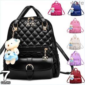 リュックサック レディース オシャレリュック バッグ ミニリュック キルティング お熊飾り デイパック バックパック 鞄|99mate