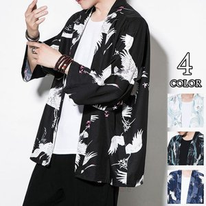 カジュアル 羽織 メンズ 男性用甚平 浴衣風 着物 ジャケット 鶴柄 和式 花火大会 甚平 涼しい アウター 七分袖 夏|99mate