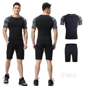 2枚セット 上下セット メンズ 半袖 コンプレッションウェア Tシャツ アンダーシャツ 加圧インナー 短パン スポーツウェア 運動着 夏新作 99mate