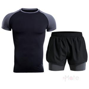加圧インナー メンズ 半袖 セットアップ 上下セット 短パン スポーツウェア コンプレッションウェア アンダーシャツ タイツ 速乾 夏 99mate