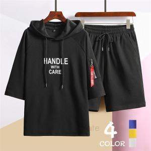 上下セット メンズ ハーフパンツ スウェット 半袖 パーカー ジャージ フード付き プルオーバー Tシャツ セットアップ 夏|99mate