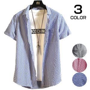 開襟シャツ メンズ カジュアルシャツ 半袖 チェックシャツ シャツ ルームウェア 半袖シャツ ファッション 夏服 送料無料 99mate
