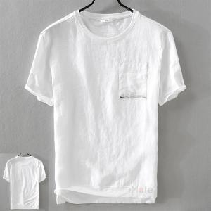 Tシャツ メンズ カジュアル 半袖Tシャツ 綿麻 リネン トップス ティーシャツ プルオーバー メンズファッション おしゃれ 夏服 99mate