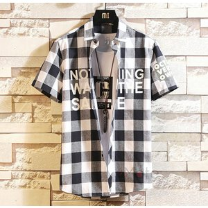 チェックシャツ メンズ カジュアルシャツ 開襟シャツ 半袖シャツ ルームウェア サマー トップス おしゃれ 夏 99mate