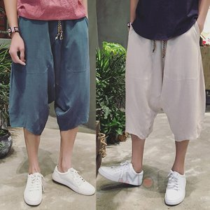 麻ズボン メンズ ルームウェア リネンパンツ クロップドパンツ カジュアル ワイドパンツ ゆったり 夏 夏物 2019夏新作|99mate