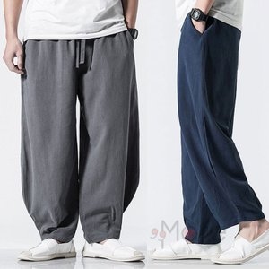 ワイドパンツ メンズ リネンパンツ 綿麻パンツ 涼しいズボン カジュアルパンツ ガウチョ ゆったり 麻ズボン 夏|99mate