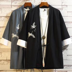 男性用羽織 メンズ 和式 着物 浴衣 甚平 鶴柄 大きいサイズ 七分袖 ルームウェア 部屋着 薄手 刺繍 サマー 夏物|99mate