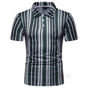ポロシャツ メンズ 夏服 半袖 Tシャツ ゴルフウェア ストライプ柄 POLOシャツ ビジネス 通勤 40代 50代 夏新作|99mate