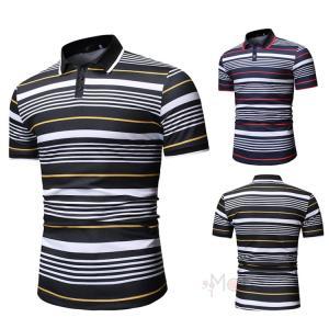 ポロシャツ メンズ 半袖 Tシャツ 40代 50代 ゴルフシャツ POLO ゴルフウェア スポーツウェア ボーダー柄 2019夏新作|99mate
