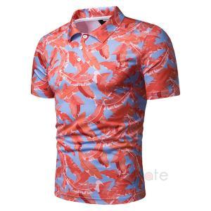 ポロシャツ メンズ ゴルフウェア 半袖 Tシャツ ゴルフシャツ 花柄 スポーツウェア POLOシャツ おしゃれ 夏物|99mate