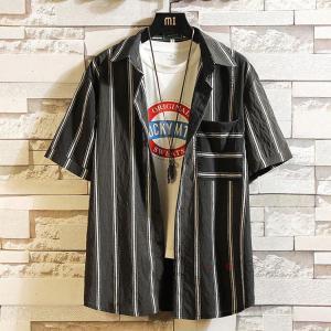 カジュアルシャツ メンズ 半袖 胸ポケット 開襟シャツ ストライプシャツ 半袖シャツ 大きいサイズ ゆったり ビジネス 部屋着 夏服 お兄系 送料無料 99mate