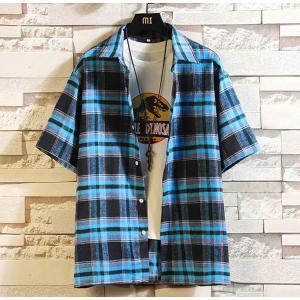 チェックシャツ 半袖シャツ メンズ カジュアルシャツ ルームウェア 大きいサイズ 開襟シャツ ゆったり トップス おしゃれ 夏 99mate