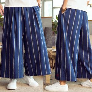 バギーパンツ メンズ ワイドパンツ 涼しいズボン サルエルパンツ カジュアル 九分丈 ゆったり 綿麻 リネン ストライプ柄 40代 50代 夏|99mate