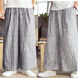 ワイドパンツ バギーパンツ メンズ 綿麻 リネンパンツ 涼しいズボン サルエルパンツ ゆったり 40代 50代 夏服|99mate