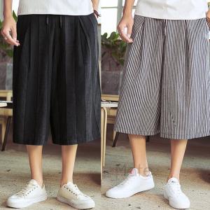 麻パンツ メンズ 50代ワイドパンツ 涼しいズボン 綿麻 クロップド リネンパンツ サルエルパンツ バギーパンツ ゆったり 40代 夏|99mate