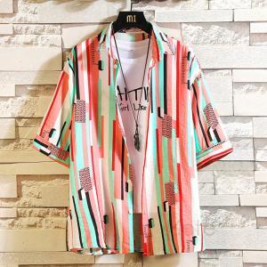 ストライプシャツ メンズ シャツ 半袖 カジュアルシャツ 半袖シャツ ゆったり 五分袖シャツ 大きいサイズ おしゃれ トップス 40代 50代 夏服 99mate