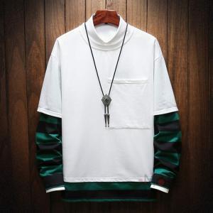 スウェット レーナー メンズ 長袖 Tシャツ インナー フェイクレイヤード カジュアル カットソー トップス 新作 薄手 秋服|99mate