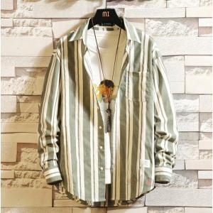 長袖 シャツ メンズ 長袖シャツ カジュアルシャツ お兄系 ビジネス ストライプシャツ 春秋 40代 50代|99mate