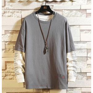 インナーTシャツ メンズ 長袖 Tシャツ カジュアル 重ね着風 ロンT ティーシャツ 大きいサイズ おしゃれ|99mate