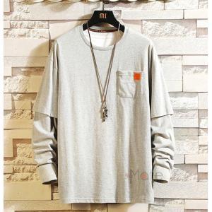 Tシャツ メンズ ティーシャツ 長袖 カットソー ロンT 重ね着風 トップス クルーネック カジュアル お兄系|99mate