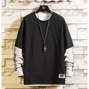 Tシャツ メンズ 長袖 ティーシャツ ロングTシャツ 重ね着風 ロンT 無地 カジュアル トップス お兄系 おしゃれ|99mate