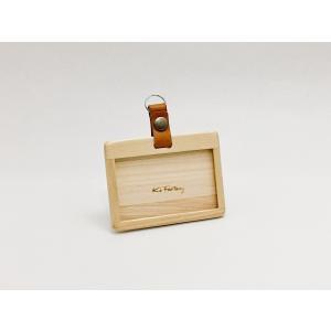 ヒノキで作ったIDカードホルダー・社員証入れ(カードが2枚入ります)|9kei