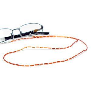 掛けてオシャレ・外して便利なメガネチェーン CX-211 ガラス竹ビーズ オレンジ 【株式会社パール純正:メガネチェーン・メガネコード】 a-achi