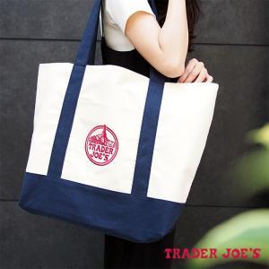 【メール便可】 TRADER JOE'S トレーダージョーズ エコトートバッグ ショッピングバッグ ホワイト×ネイビー|a-base