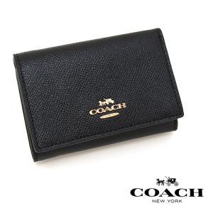 COACH コーチ 三つ折り財布 BLACK 39737 スモール フラップ ウォレット ミニ財布 コーチ 財布 レディース|a-base