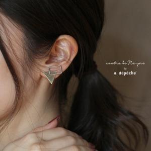 アデペシュ シトルス 2モチーフ イヤリング レディース 真鍮製 幾何学 両耳用 大ぶり 日本製 a.depeche CIS-ER-2MT|a-depeche