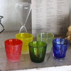 アデペシュ 泡グラス 002 ラージミニグラス レッド オレンジ グリーン イエローグリーン|a-depeche