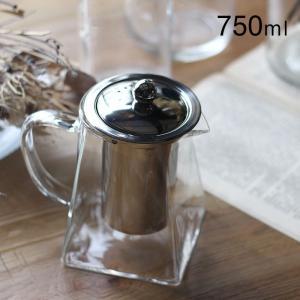アデペシュ グラスティーポット 750 750ml 耐熱グラス 透明 スクエア型|a-depeche