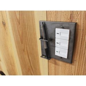 アイアン ペンホルダー スイッチプレート ワイド スイッチプレートに壁面収納をプラス ペンを2本収納可能です  ワイドタイプのスイッチに対応|a-depeche