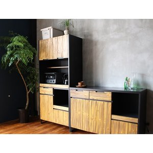 食器棚 モダージュキッチンボード 800 木の質感が美しいモダンなキッチンボード|a-depeche