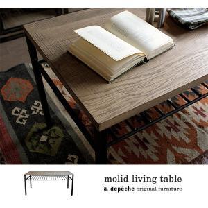 モリード リビングテーブル molid living table 天板木製、脚スチール製のラック付センターテーブル|a-depeche