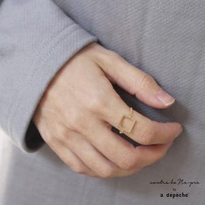 指輪 レディース 『ロチカ ホール スクエア リング』 11号 リング ゴールド おしゃれ シンプル チェーン 幾何学 ブラス 四角 正方形 モチーフ スクエア 日本製|a-depeche