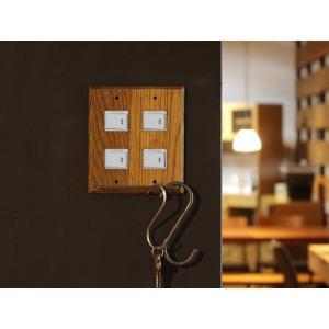ウッド ハングバー スイッチプレート 4口 wood hang bar switch plate 4口 あたたかみのあるウッドの質感を楽しむ機能的なスイッチカバー|a-depeche