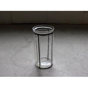 バブルガラス アイアンライン フラワーベース(M) アイアンとガラスの対比が美しいシンプルな花瓶|a-depeche