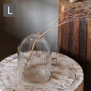 Horn Please リユーズガラス クーレライン フラワーベース タビー Lサイズ 花瓶 高さ15cm ストライプ 透明 372145|a-depeche