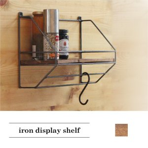 アイアン/ディスプレイシェルフ 『アイアン ディスプレイ シェルフ DIY  古材 棚 木材 木製 リサイクルウッド 幅32cm アンティーク調 ビンテージ』|a-depeche
