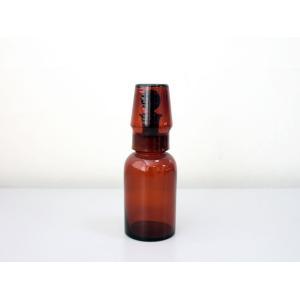 チェコ/丸型試薬瓶 フタ付き  ブラウン 中古 (250ml)|a-depeche