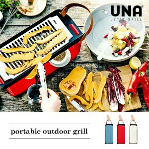 UNA ポータブル アウトドアグリル 『グリル コンパクト BBQ グリル 持ち運び キャンプ 簡単設置 おしゃれ ギフト 焼き網 バーベキュー 送料無料』|a-depeche