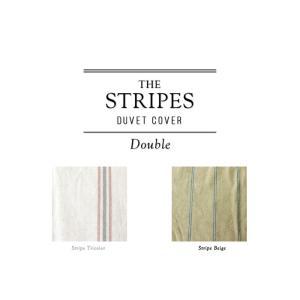 THE STRIPES /デュベカバー ダブル(ストライプベージュ) 掛け布団カバー 190×210cm コットンリネンの心地良いベッドリネン|a-depeche