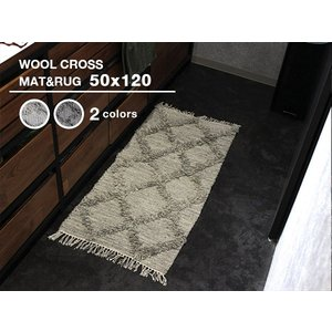 ウール クロス ラグ&マット 50x120 天然ウールの素朴さが素敵な秋冬に使いたい絨毯 a-depeche