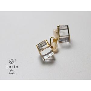 sorte glass jewelry イヤリング SGJ-006E ガラスと金の繊細な組み合わせを楽しむイヤリング|a-depeche