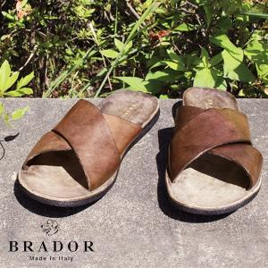 サンダル 本革 おしゃれ 『ブラドール レザーサンダル メンズ クロス』 送料無料 BRADOR コンフォートサンダル 歩きやすい フラット 牛革 ART-46-510 大人|a-depeche