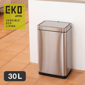 EKO イーケーオー デラックスミラージュセンサービン 30L ゴミ箱 自動開閉 センサー付き 蓋付き ステンレス リチウムイオン電池搭載  シルバー EK9280RMT-30L|a-depeche