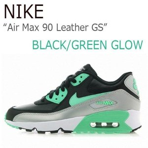 NIKE Air Max 90 Leather GS Black Green Glow Mtlc Platinium ナイキ エアマックス 833376-001|a-dot